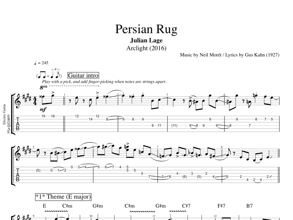 "Valerie Lyrics And Piano Notes: ""Persian Rug"" By Julian Lage"