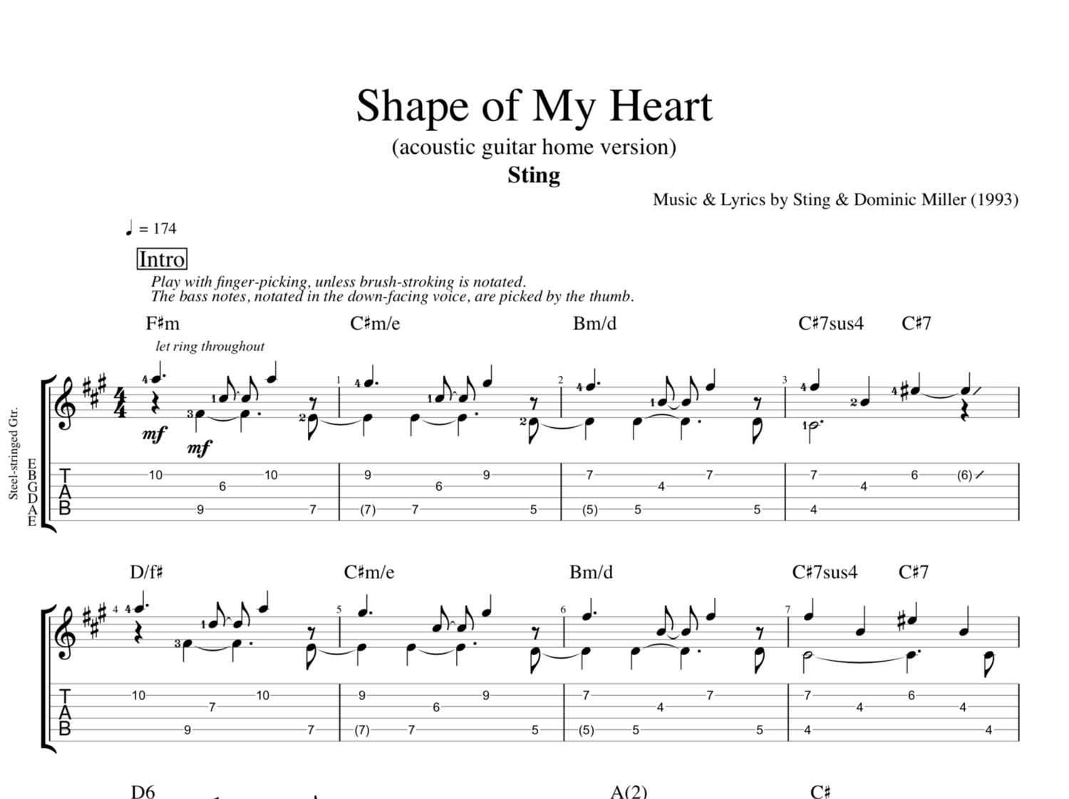 Shape Of My Heart Acoustic Version By Sting Guitar Tab
