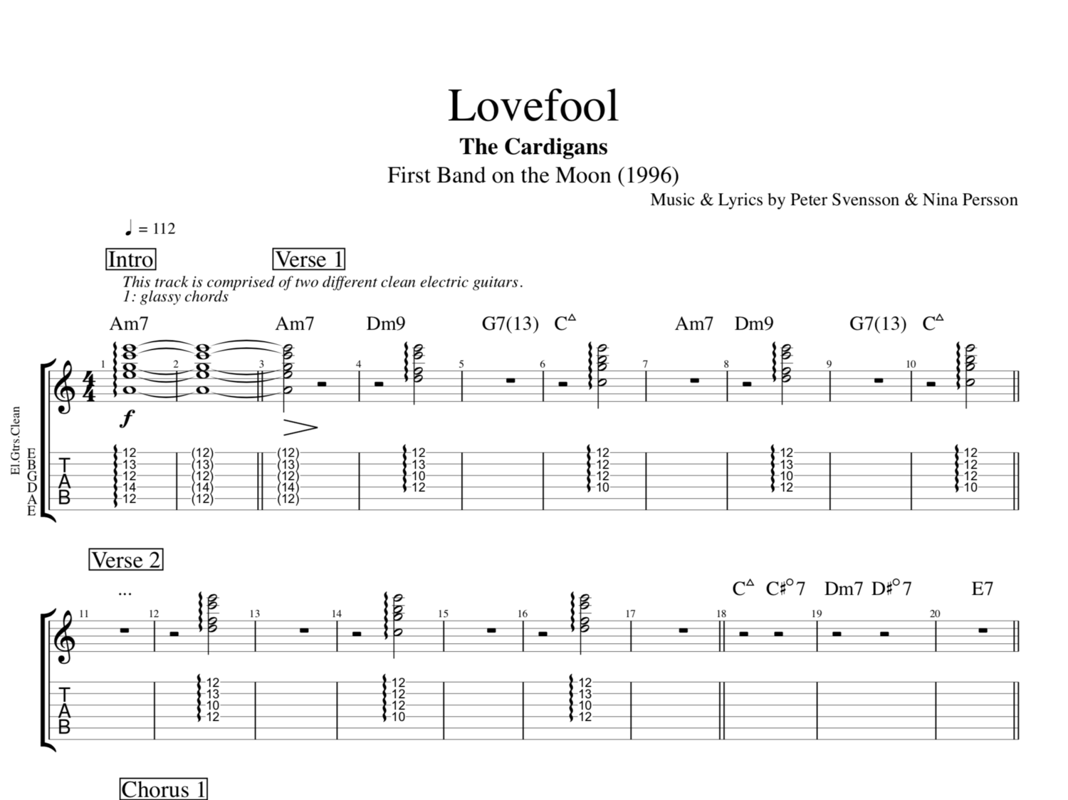 Lovefool By The Cardigans Guitars Bass Keyboards Tab