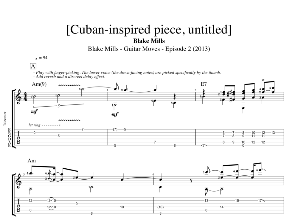 Cuban-inspired piece, untitled] @ Guitar Moves, ep. 3, Blake Mills ...