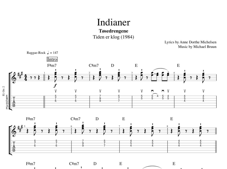 Indianer By Tsedrengene Guitars Keyboards Bass Tab Sheet