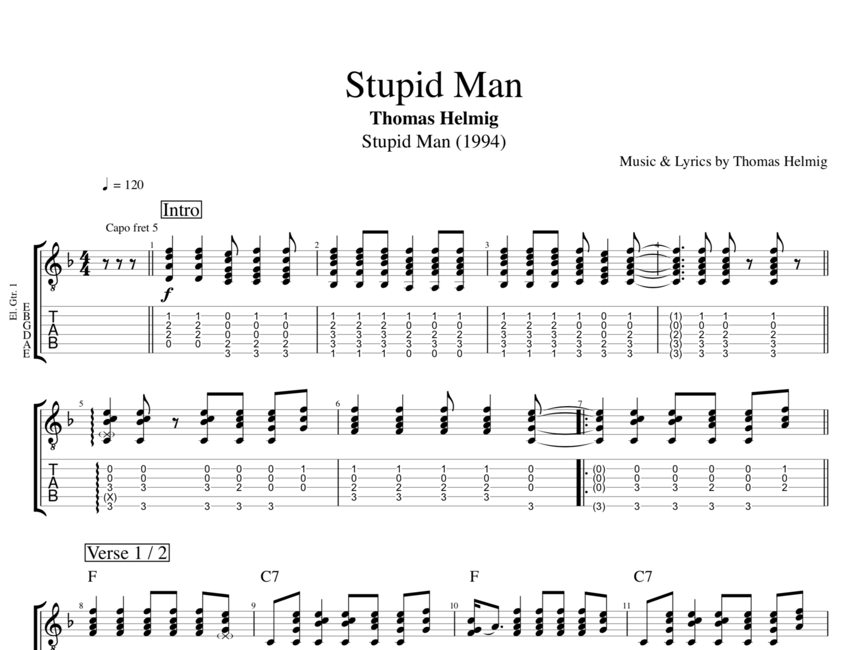 Stupid Man By Thomas Helmig Guitar Piano Bass Voice Tab