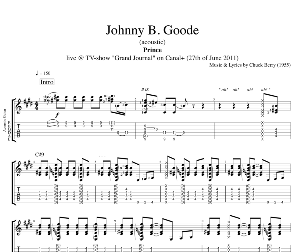 Johnny B Goode Acoustic By Prince Guitar Tab Chords