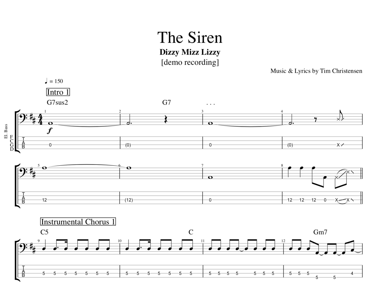 The Siren By Dizzy Mizz Lizzy Guitar Bass Tabs Chords