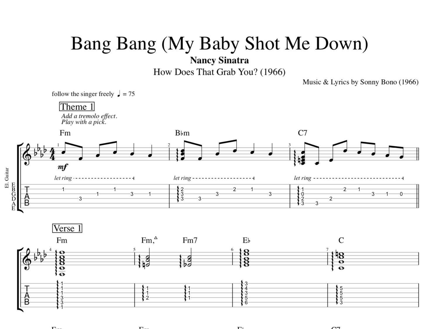 Bang Bang My Baby Shot Me Down By Nancy Sinatra Guitar Tab