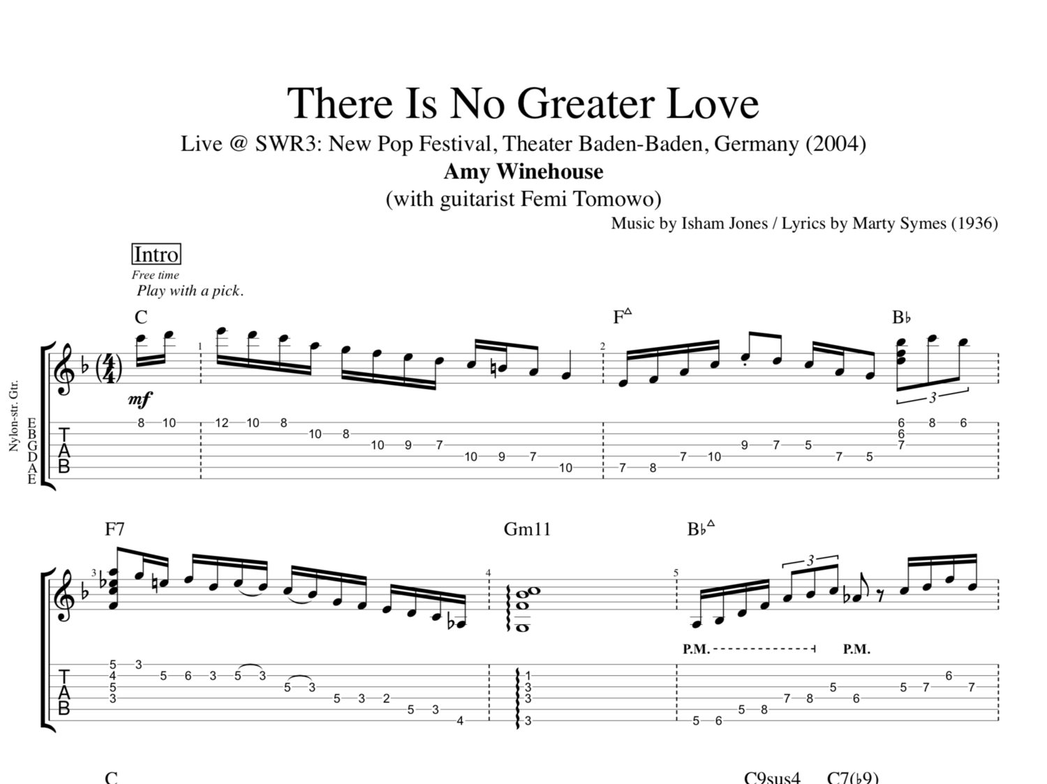 There Is No Greater Love Live By Amy Winehouse Guitar Tab