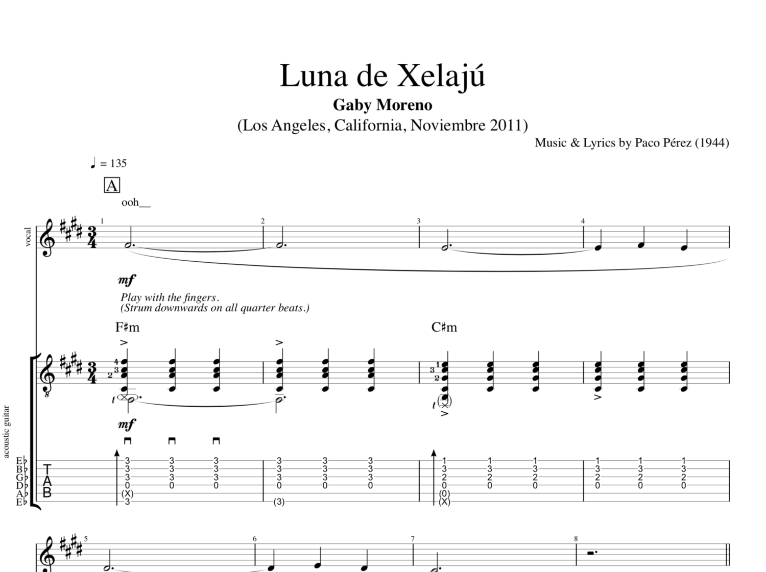 Luna De Xelaj By Gaby Moreno Guitar Voice Sheet Music Tab