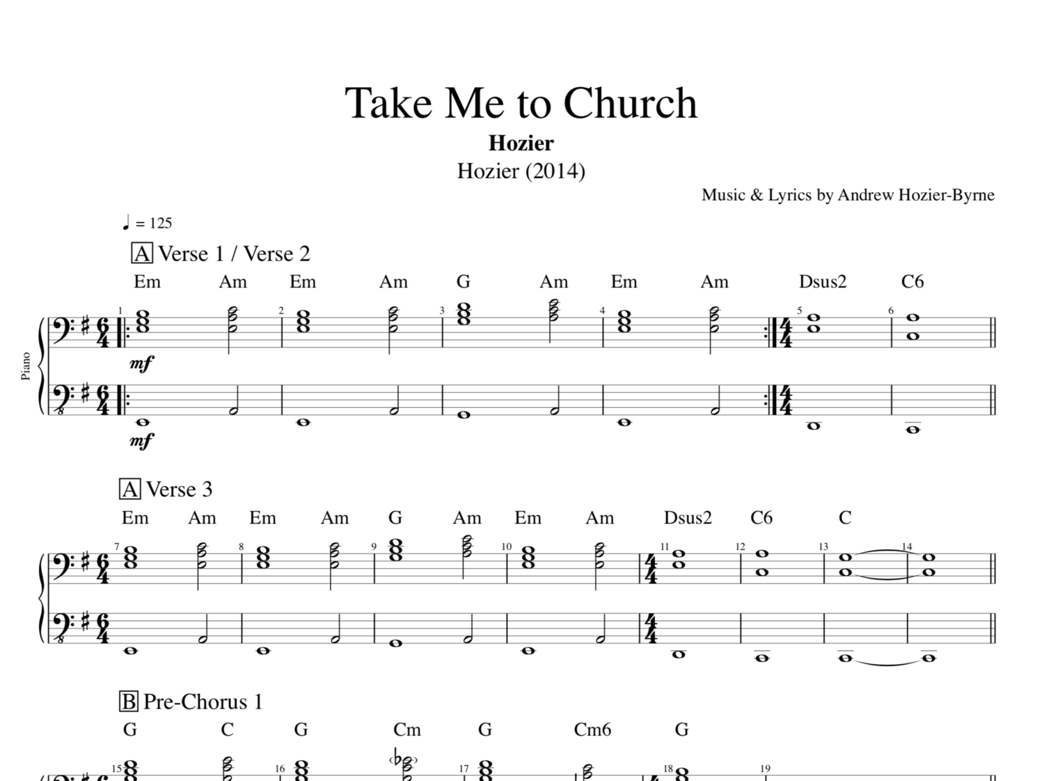 Take Me To Church By Hozier Piano Guitar Sheet Musicscore