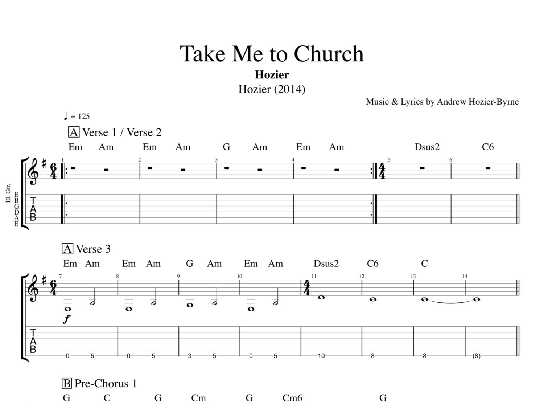 Take Me To Church By Hozier Piano Guitar Sheet Musicscore