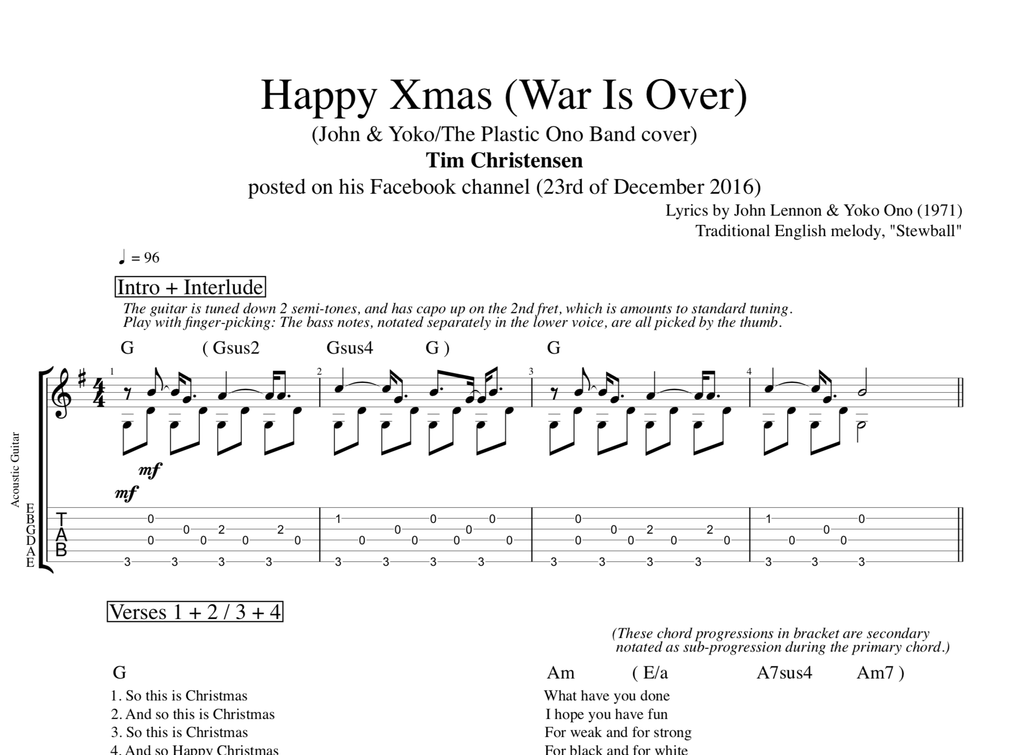 Christmas Guitar Tabs.Happy Xmas War Is Over By Tim Christensen Guitar Tab Chords Lyrics Play Like The Greats Com