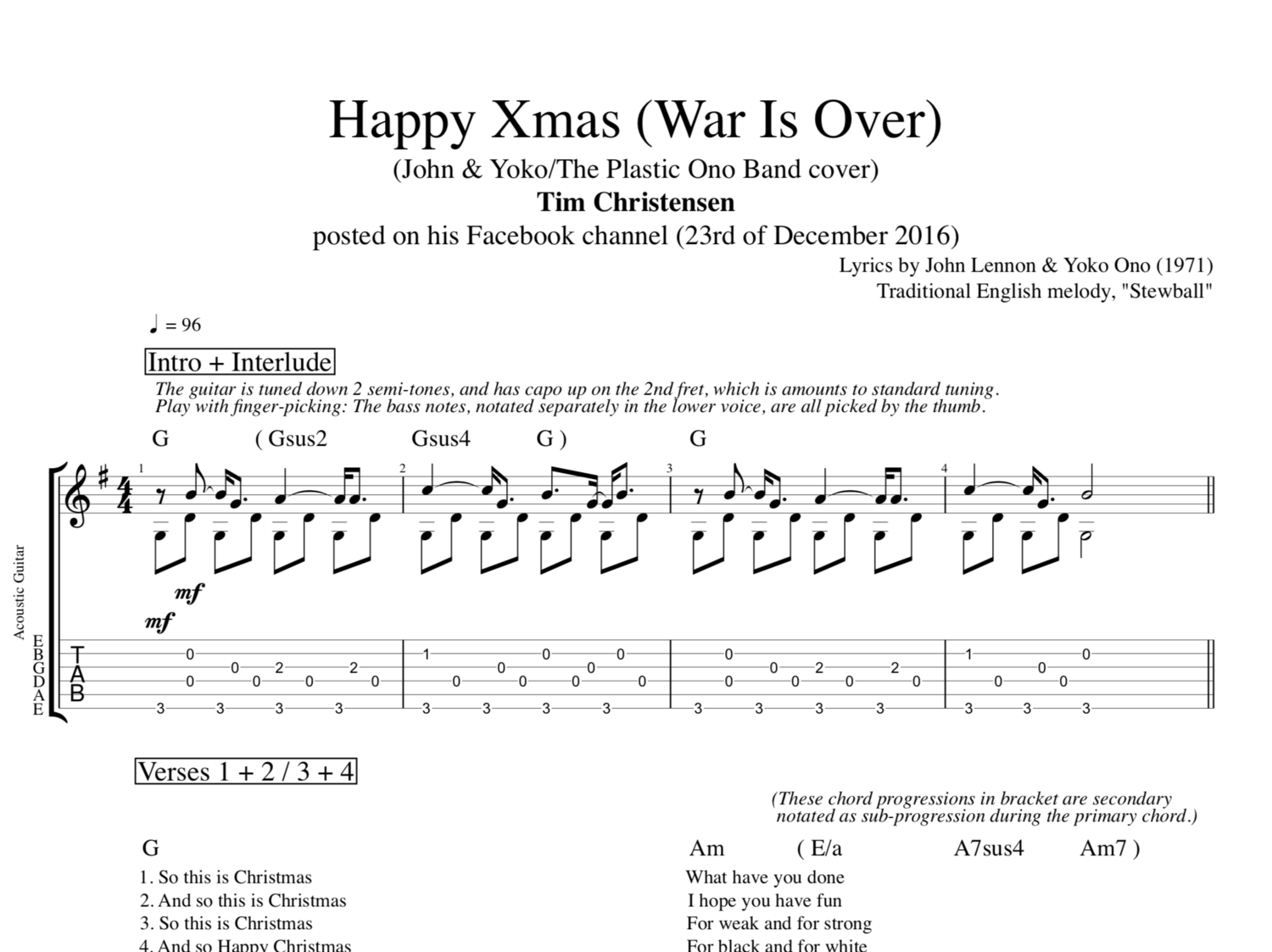 Happy Christmas War Is Over Chords Ultimate Guitar Christmaswalls