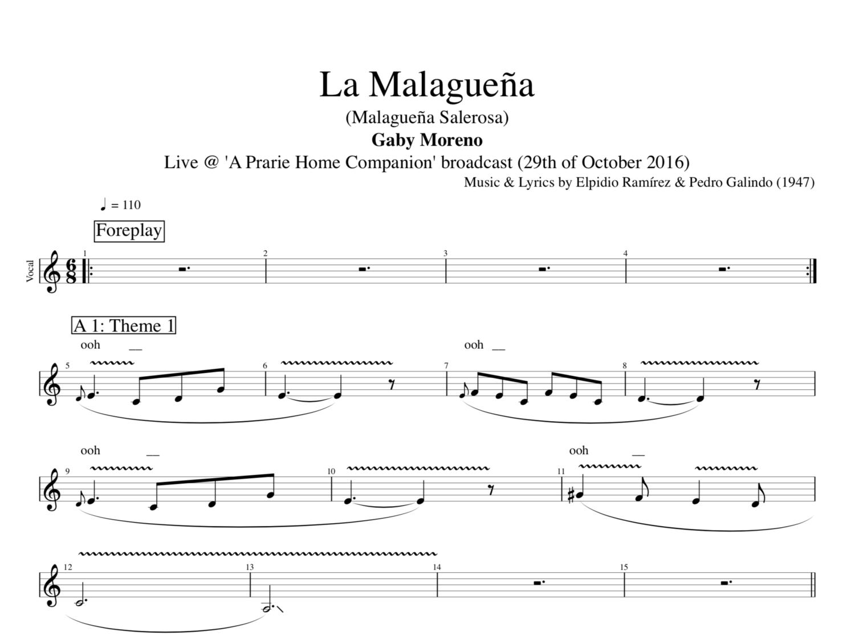 La Malaguea Live By Gaby Moreno Guitar Voice Tab Sheet