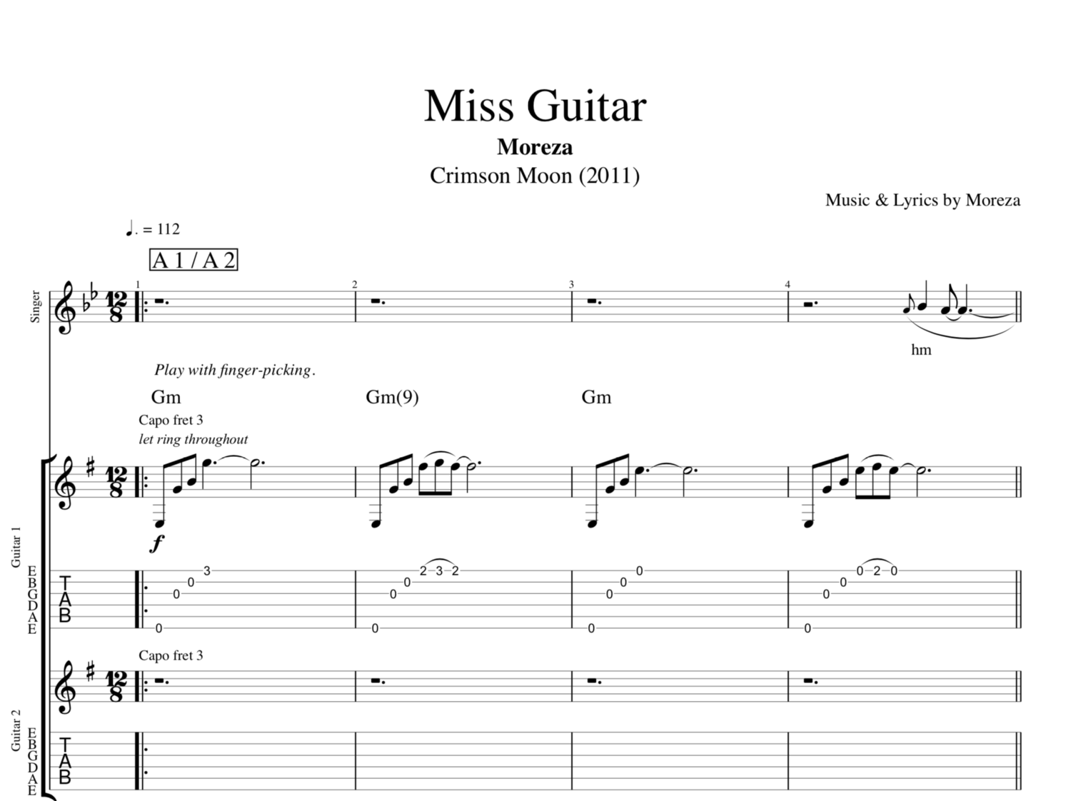 Miss Guitar By Moreza Guitars Vocal Sheet Musicscore Tab