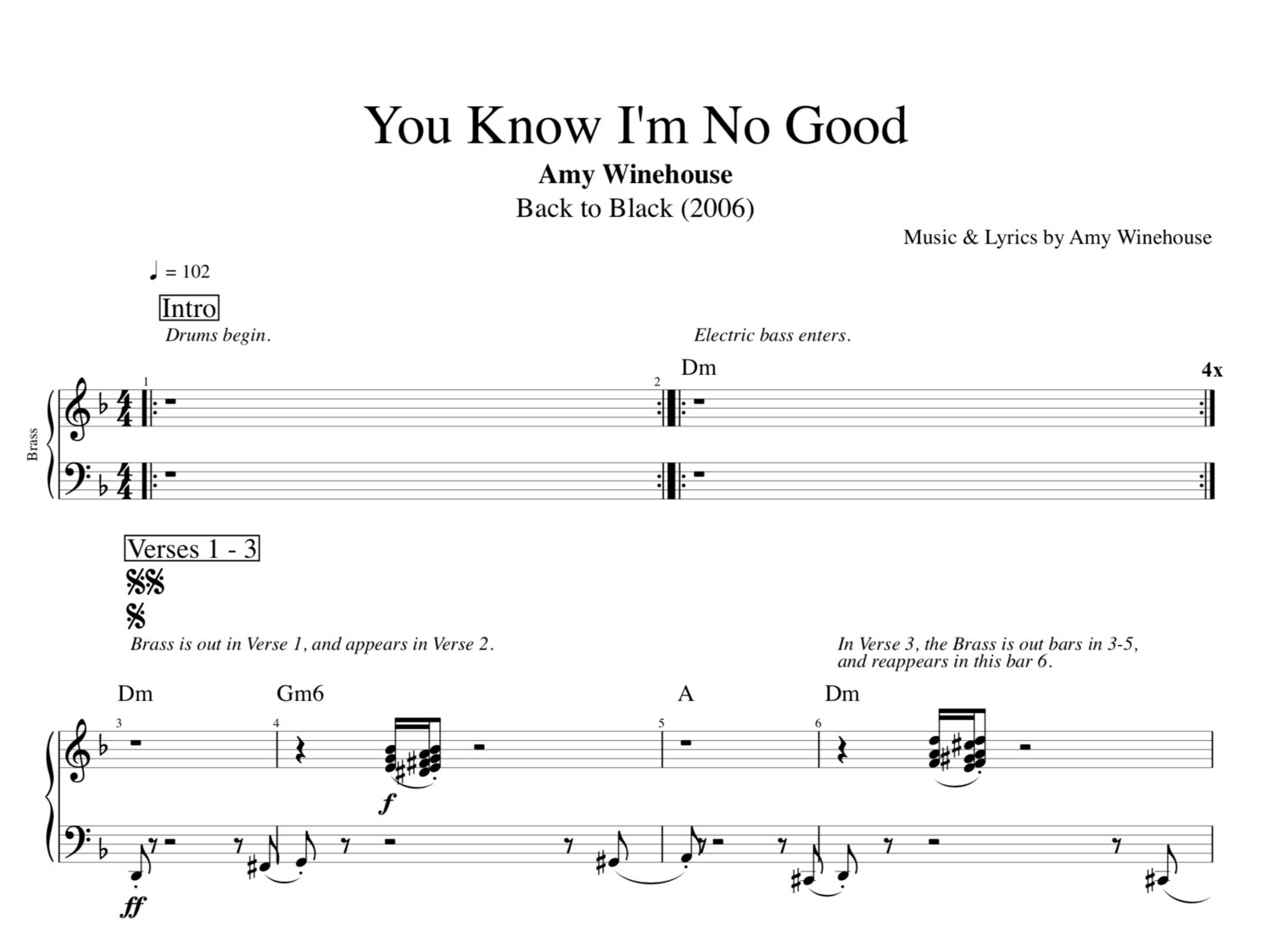 You Know Im No Good By Amy Winehouse Guitar Bass Brass Tab