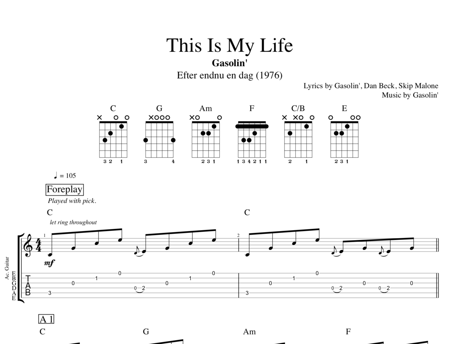 This Is My Life By Gasolin Guitar Voice Tab Sheet Music