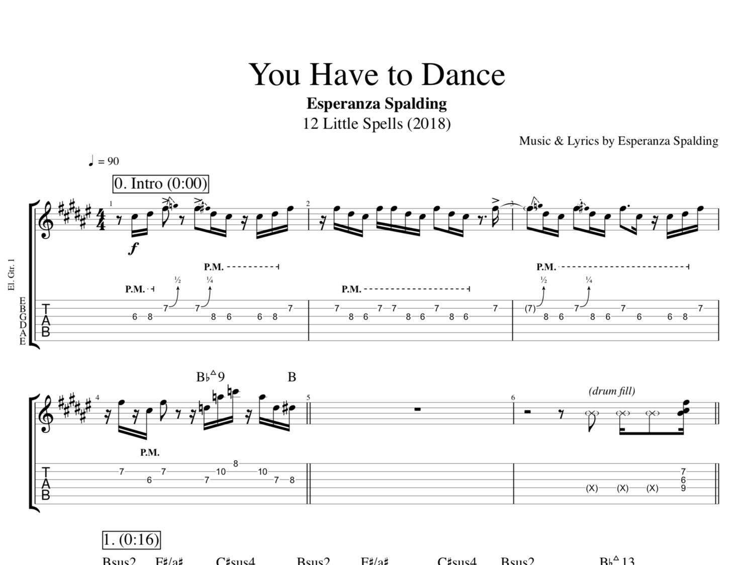 You Have To Dance By Esperanza Spalding Guitars Bass Piano Voice Tabs Sheet Music Chords Lyrics Play Like The Greats Com