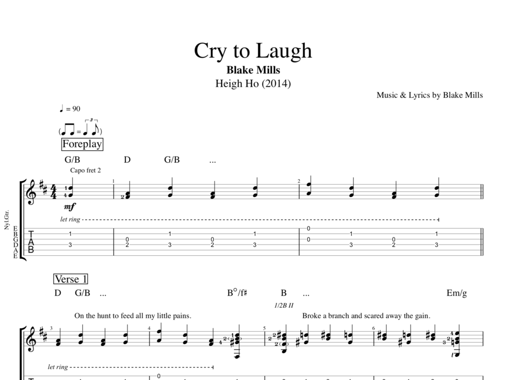 Cry To Laugh By Blake Mills Guitar Bass Vocal Tabs Chords