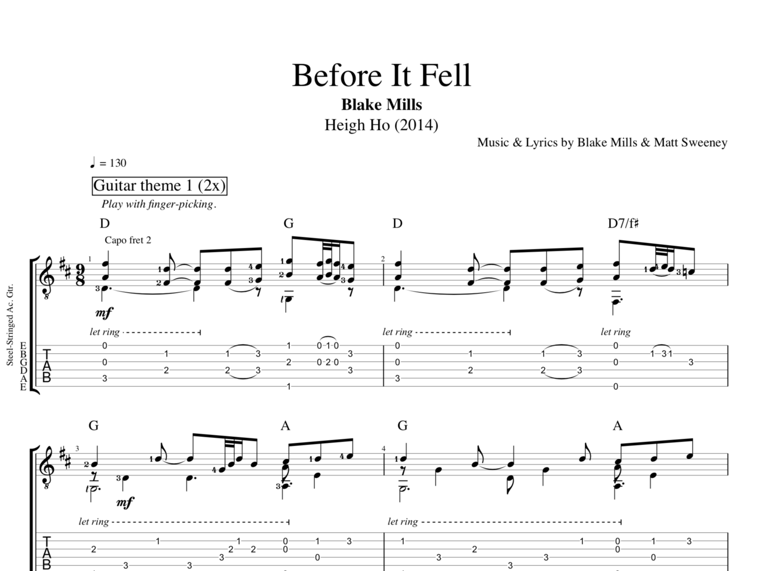 Before It Fell By Blake Mills Guitar Bass Voice Tabs