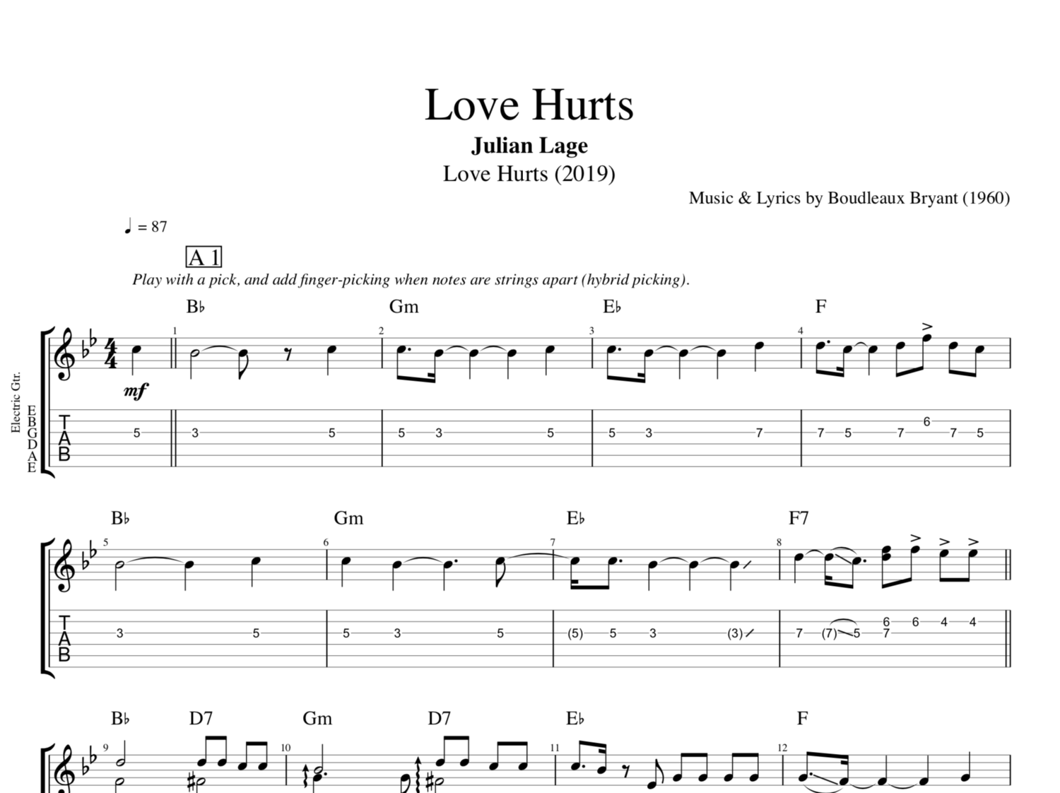 Love Hurts By Julian Lage Guitar Bass Tabs Sheet Music Chords Play Like The Greats Com
