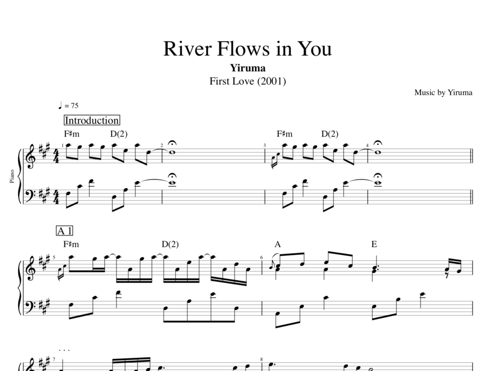 River Flows In You By Yiruma Piano Sheet Musicscore Chords
