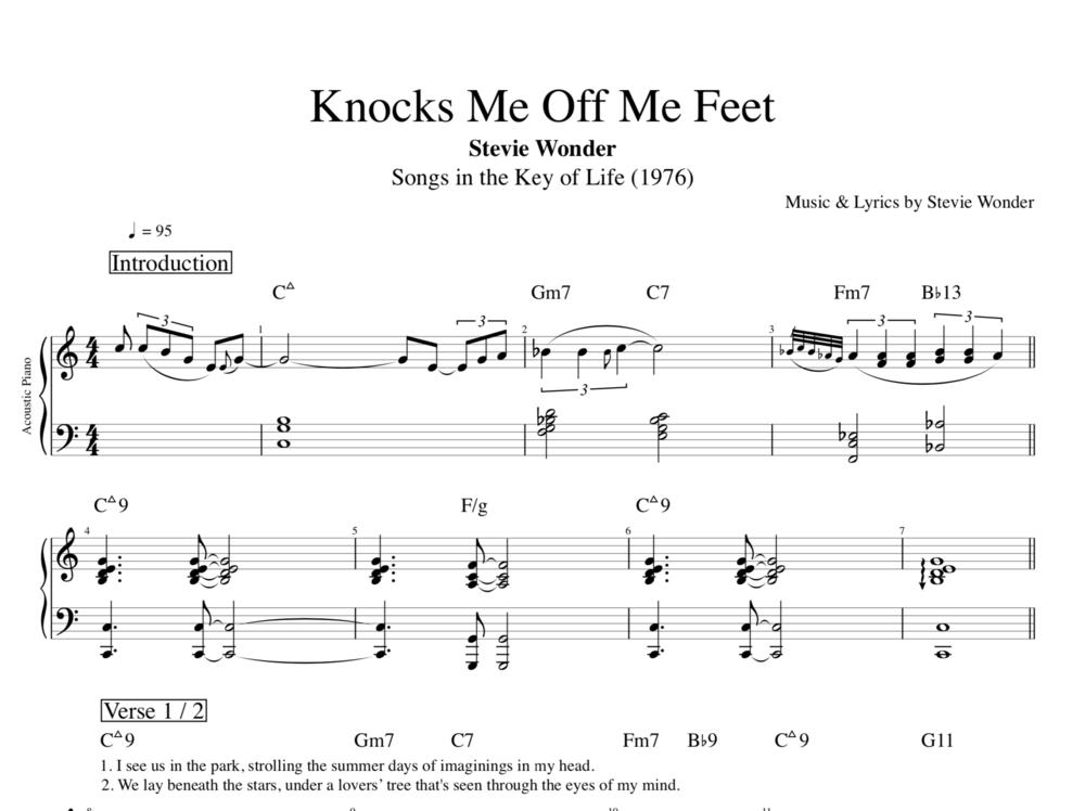 Knocks Me Off My Feet By Stevie Wonder Piano Bass Sheet Music