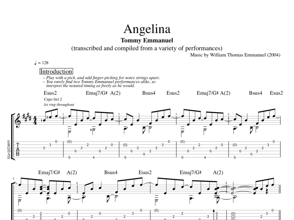 Angelina By Tommy Emmanuel Guitar Tab Chords Sheet Music