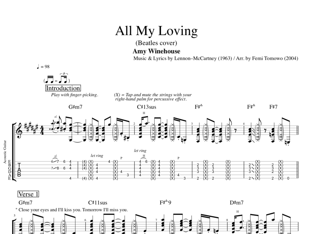 All My Loving By Amy Winehouse Guitar Tab Sheet Music