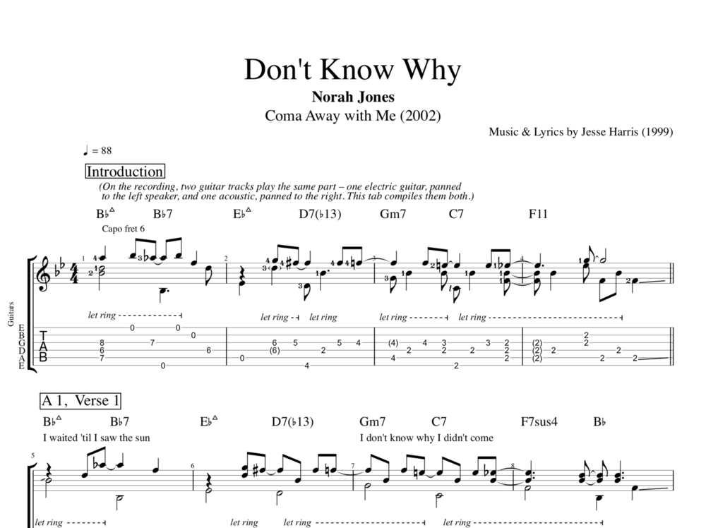 don 39 t know why by norah jones guitar bass tabs chords sheet music lyrics play. Black Bedroom Furniture Sets. Home Design Ideas