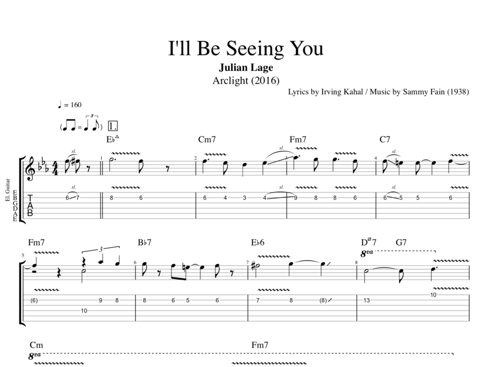 Ill Be Seeing You By Julian Lage Guitar Bass Lead Sheet