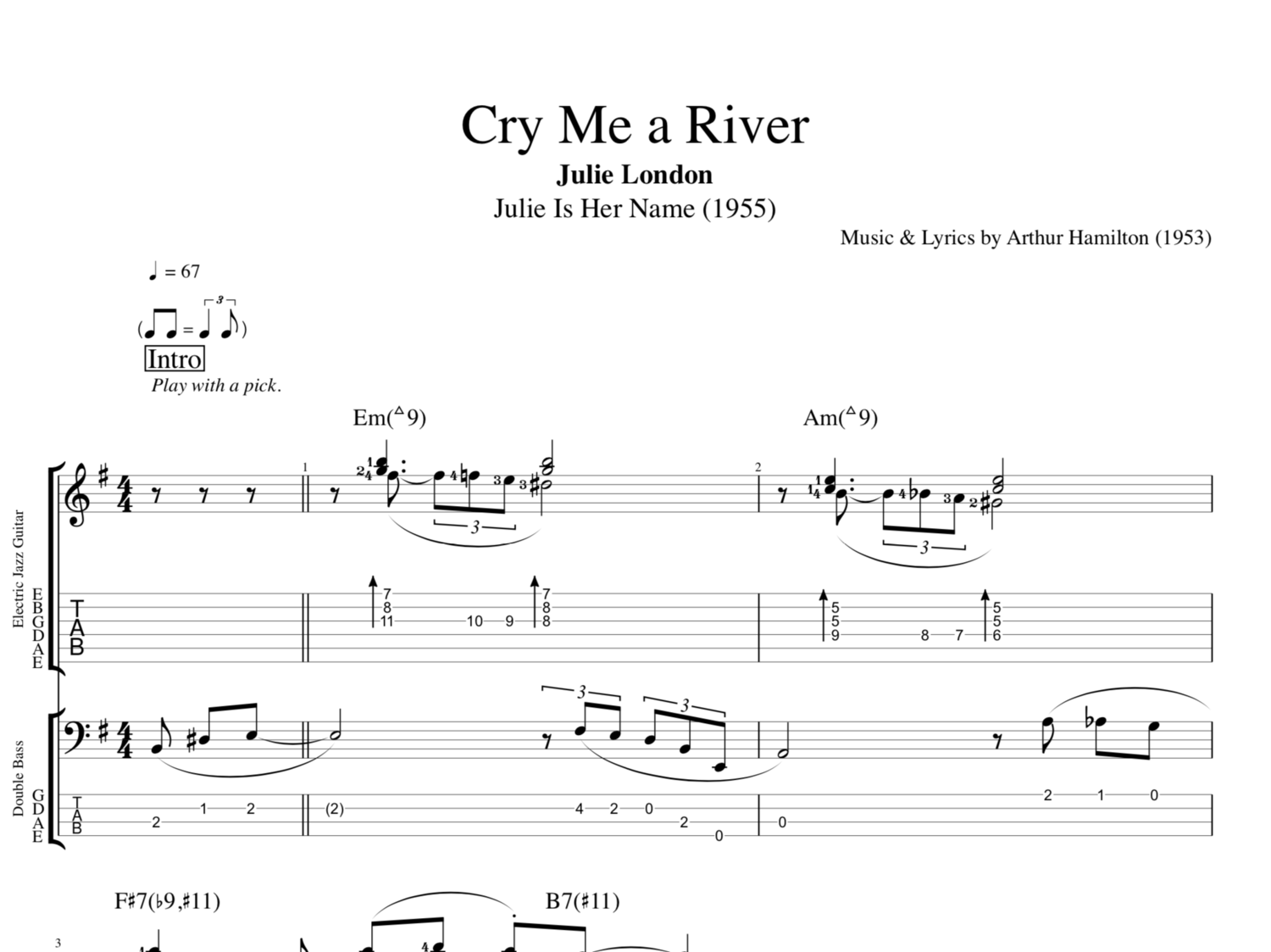 Cry Me A River By Julie London Guitar Bass Tabs Chords