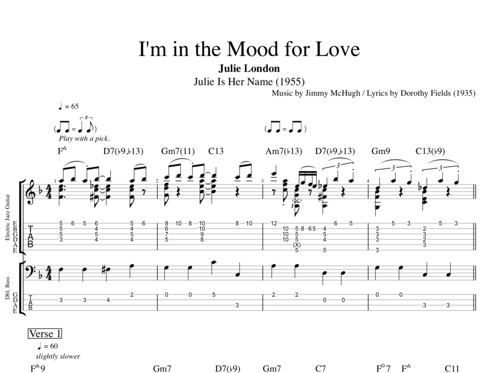 i 39 m in the mood for love by julie london guitar bass tabs chords sheet music score. Black Bedroom Furniture Sets. Home Design Ideas