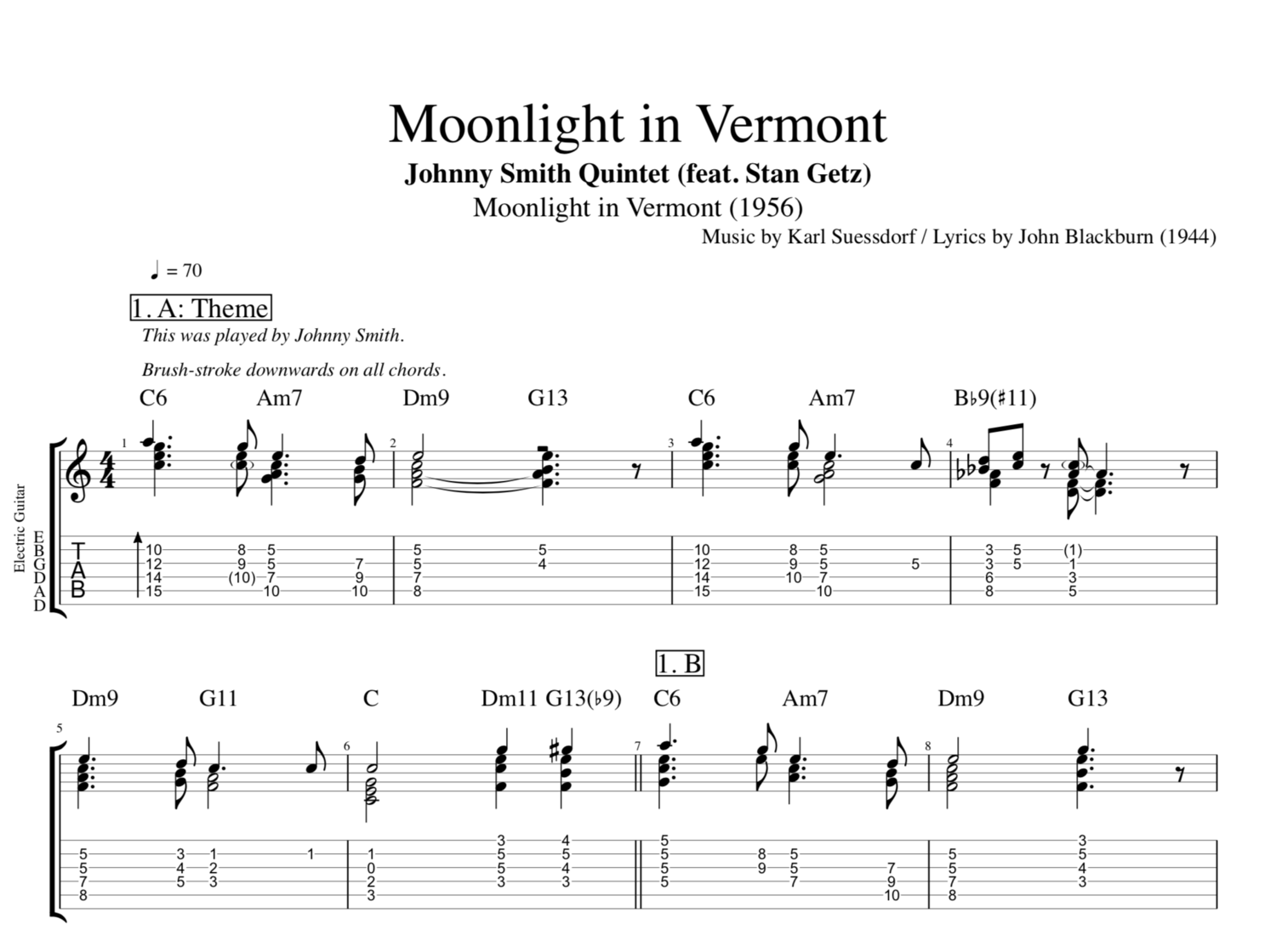 7 et 8 CORDES, guitares-et-basses, impro/composition, investigations Moonlight+in+Vermont+G+Johnny+Smith+Stan+Getz+guitar+tab+tabs+chords+double+bass+jazz+saxophone+tenor+transcription+chords+sheet+music