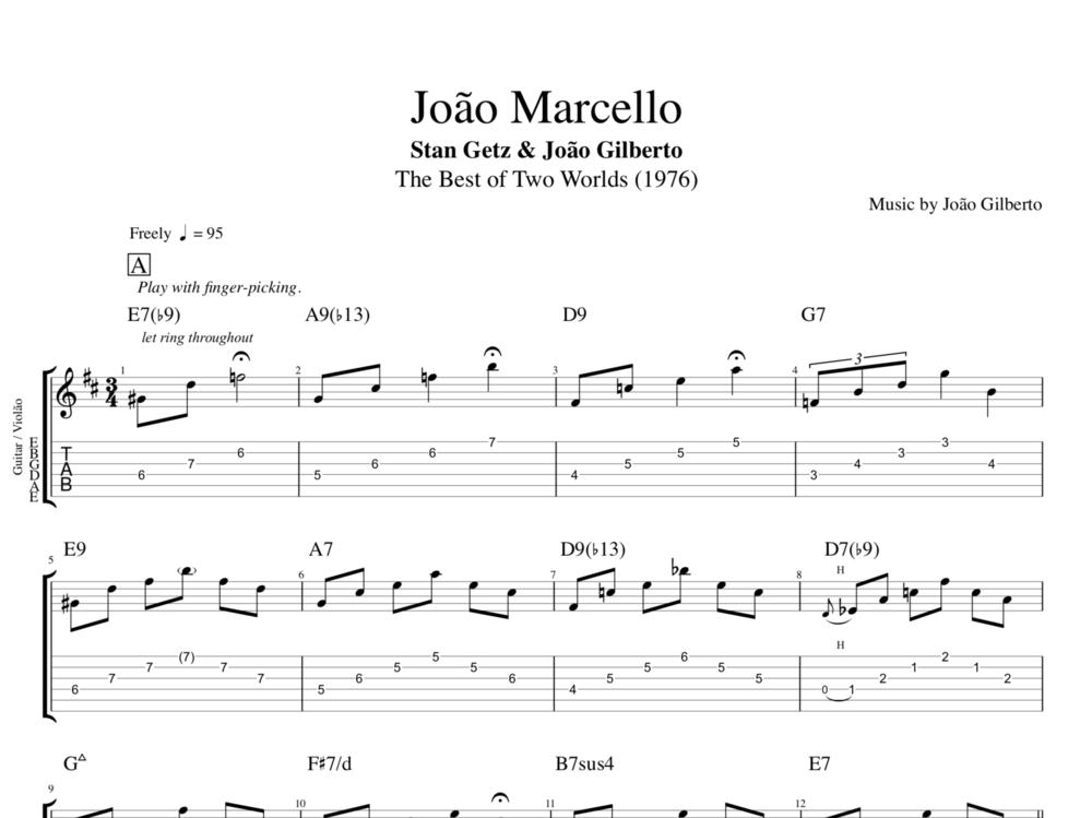 Joao Marcello By Getz Gilberto Guitar Tab Chords Sheet