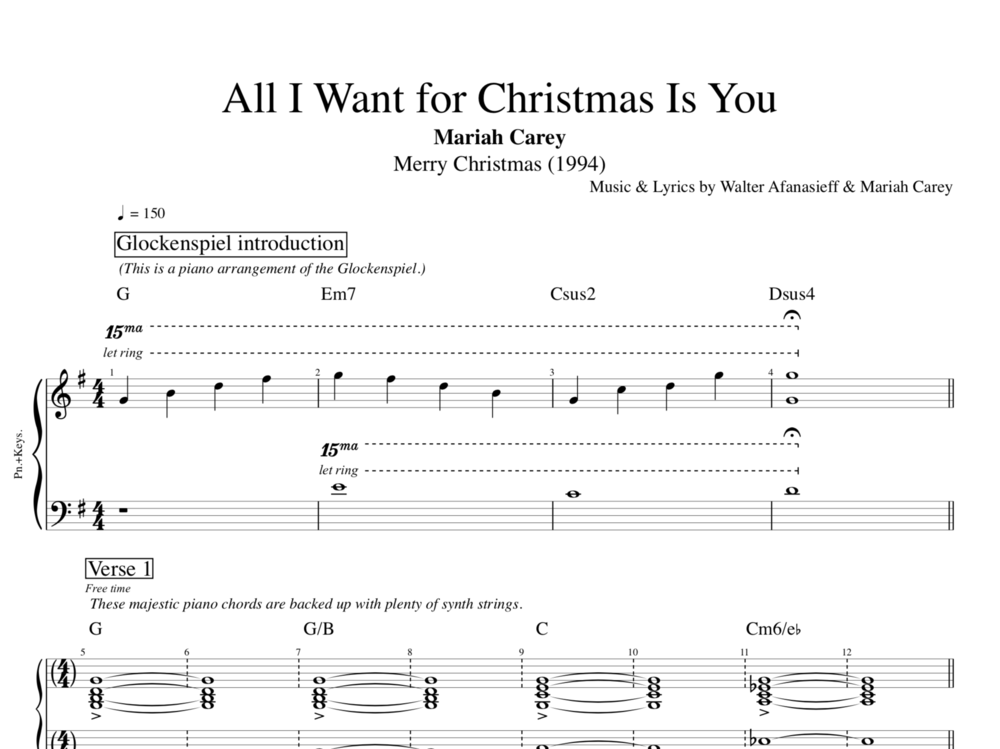 All I Want For Christmas Is You By Mariah Carey Piano Bass