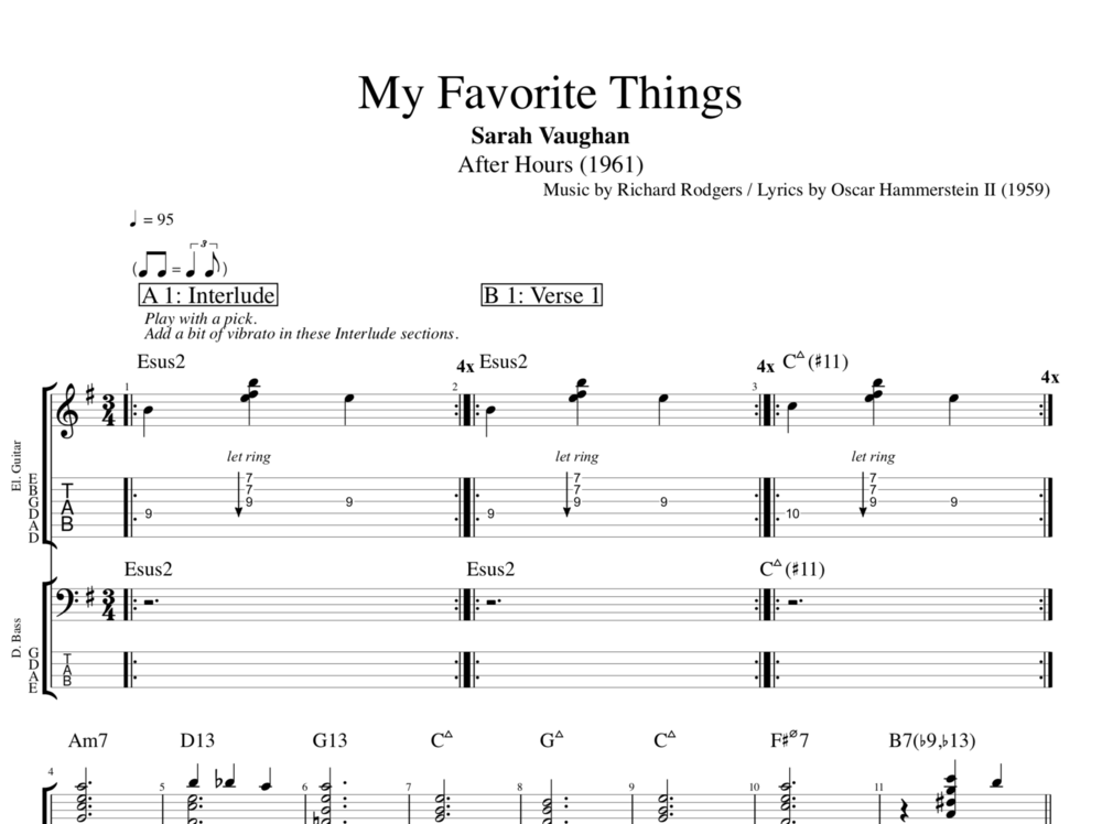 my favorite things by sarah vaughan guitar bass tabs sheet music chords play like. Black Bedroom Furniture Sets. Home Design Ideas
