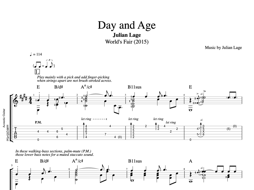 "Free Piano Sheet Music New Age: ""Day And Age"" (World's Fair) By Julian Lage"