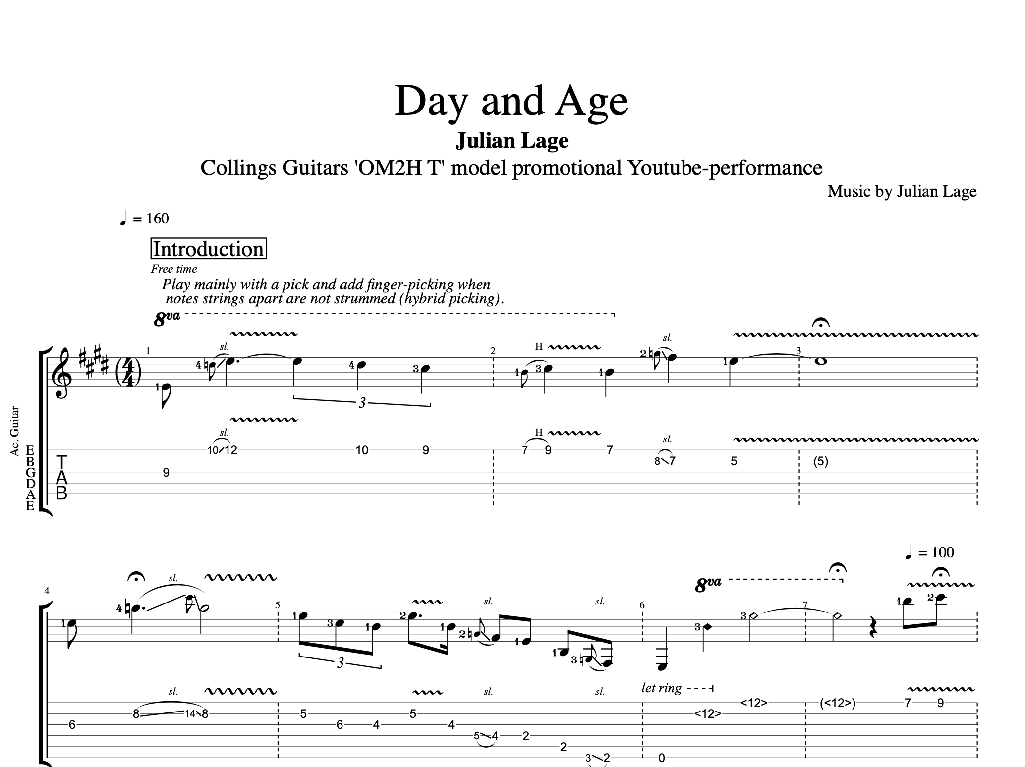 Day And Age Collings Guitars Omh2 T Youtube Promo By Julian Lage Guitar Tabs Sheet Musicscore Chords Play Like The Greats Com
