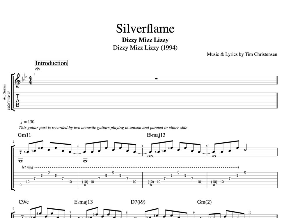 Silverflame By Dizzy Mizz Lizzy Guitar Bass Tabs Chords