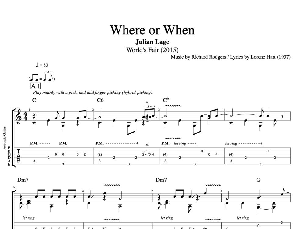 Where Or When By Julian Lage Guitar Tab Chords Sheet Music