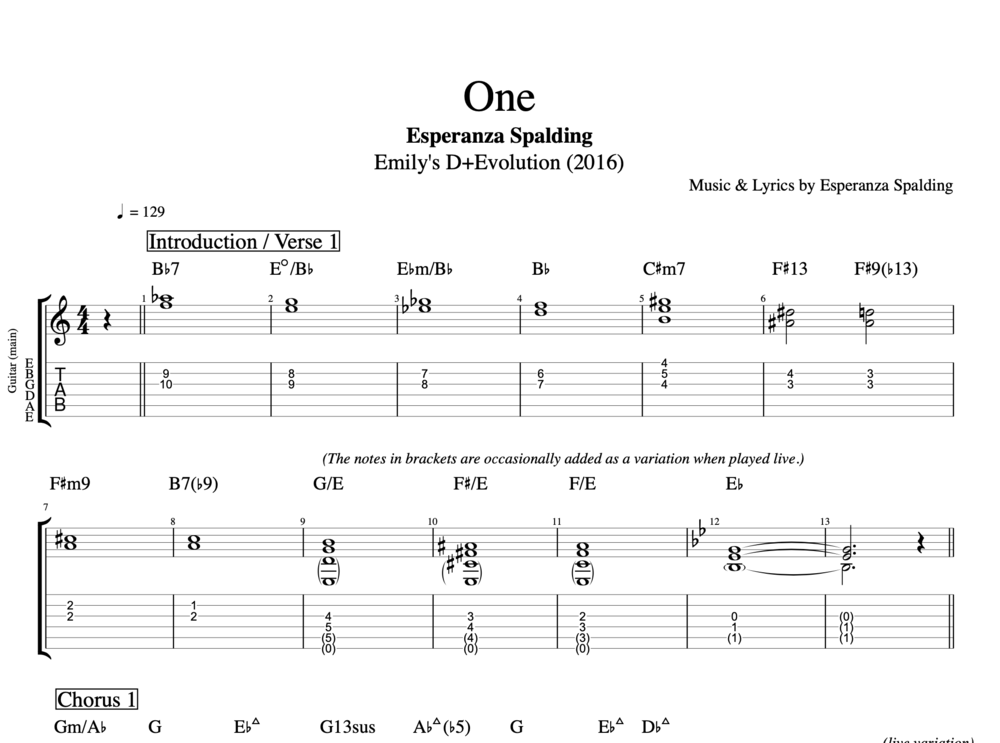 One By Esperanza Spalding Guitar Bass Voice Tabs Sheet
