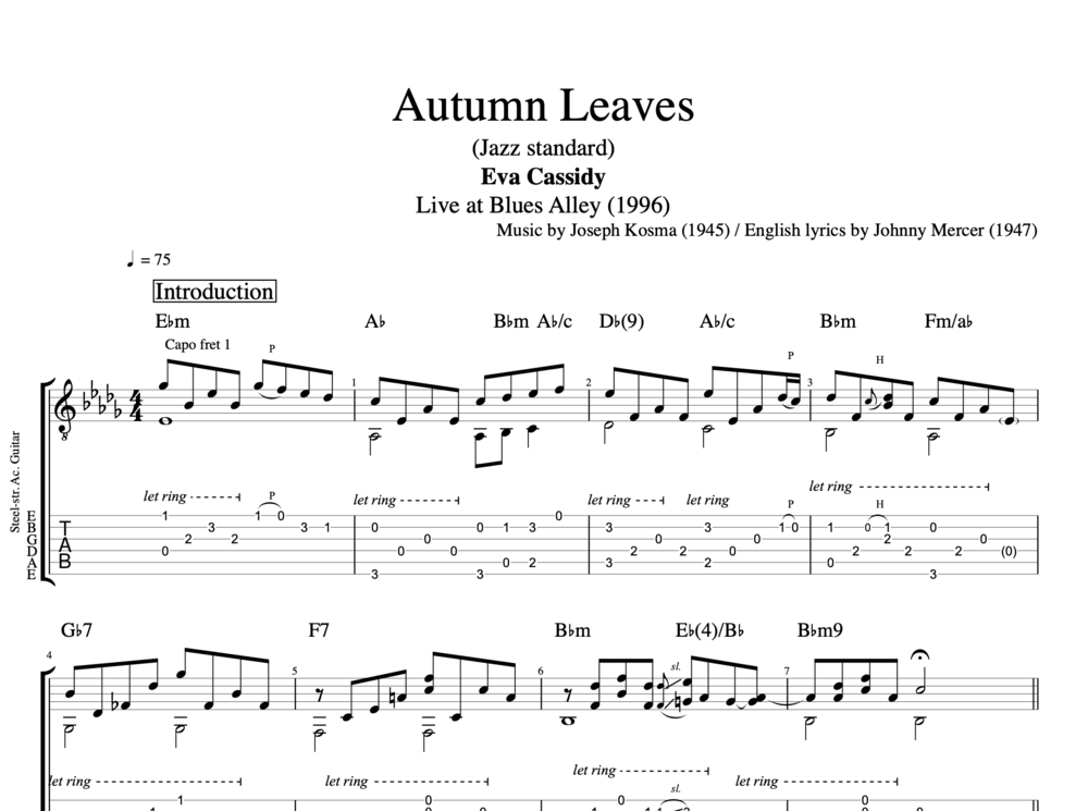 Autumn Leaves By Eva Cassidy Guitar Piano Tab Chords