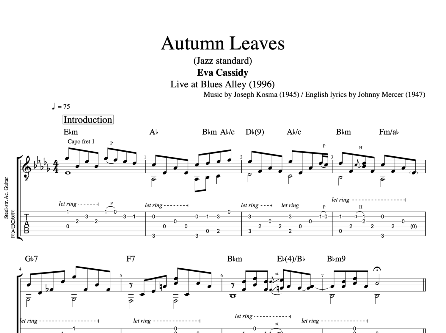 Johnny guitar chords image collections guitar chords examples autumn leaves by eva cassidy guitar piano tab chords autumn leaves by eva cassidy guitar piano hexwebz Gallery