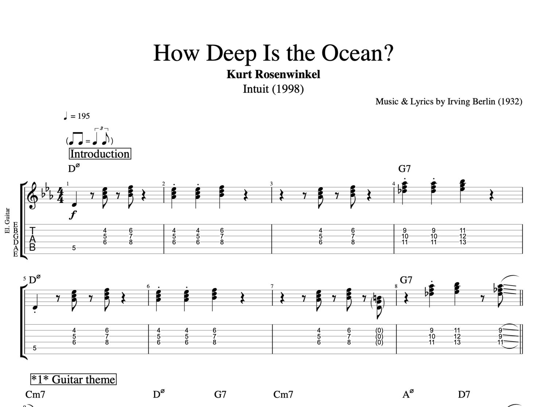 How Deep Is The Ocean By Kurt Rosenwinkel Guitar Bass Tabs