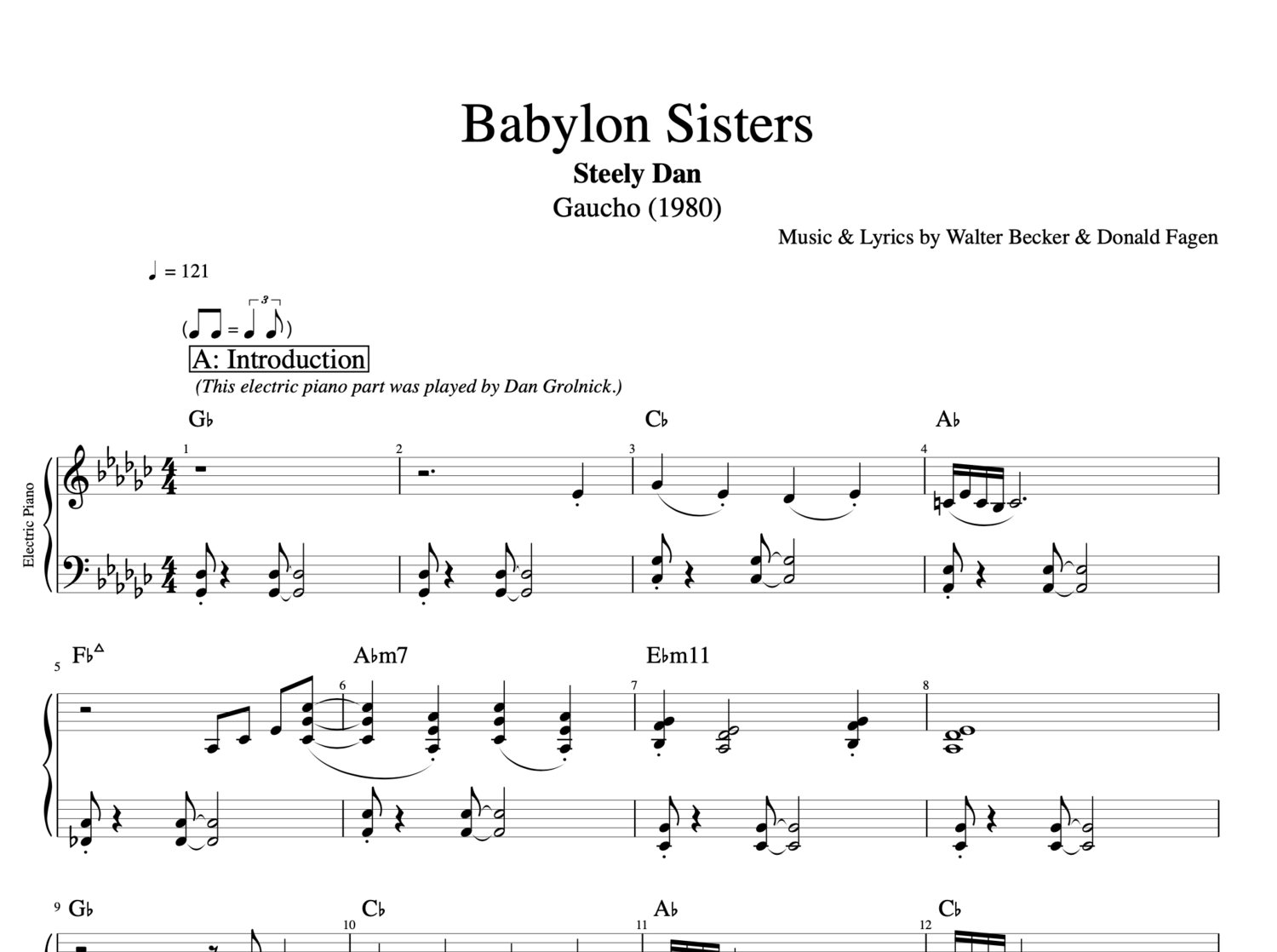 Babylon Sisters By Steely Dan Piano Bass Trumpet Sheet Music Chords Tab Play Like The Greats Com