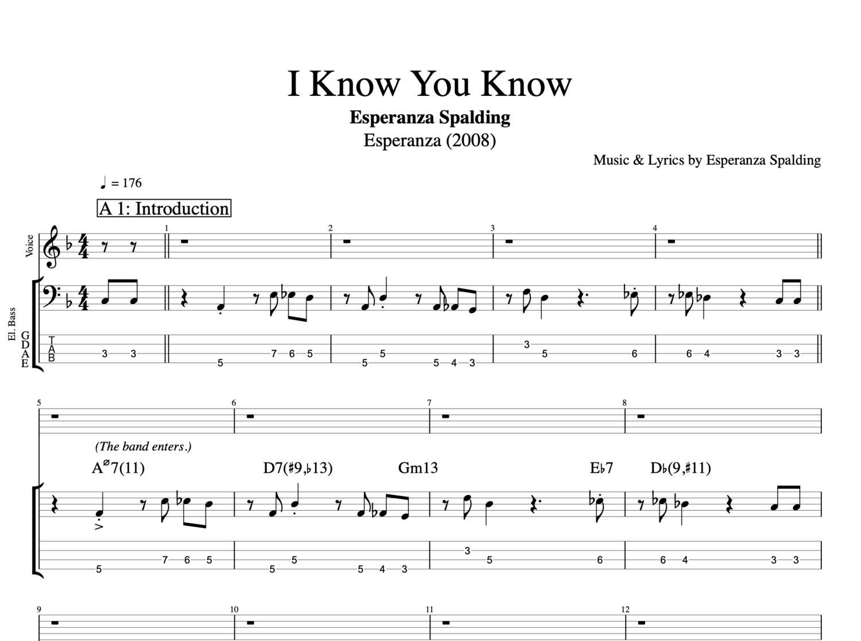 I Know You Know By Esperanza Spalding Bass Voice Tab Sheet Music Lyrics Play Like The Greats Com