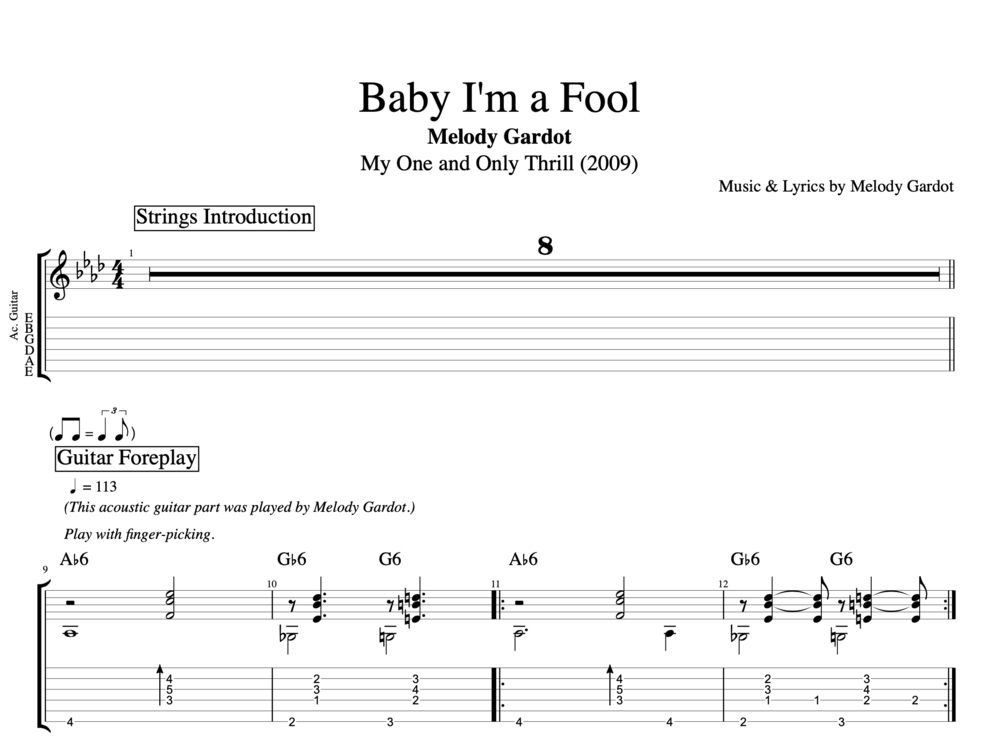 "Guitar guitar melody tabs : Baby I'm a Fool"" by Melody Gardot 