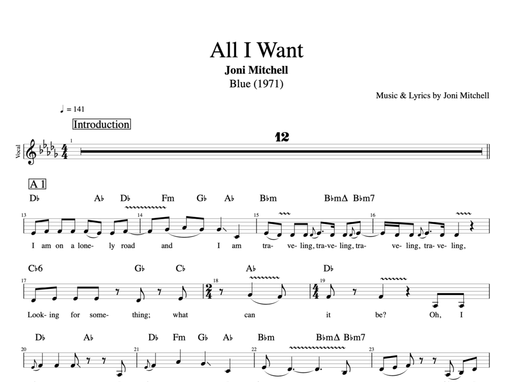 All I Want By Joni Mitchell Guitar Dulcimer Tabs Chords