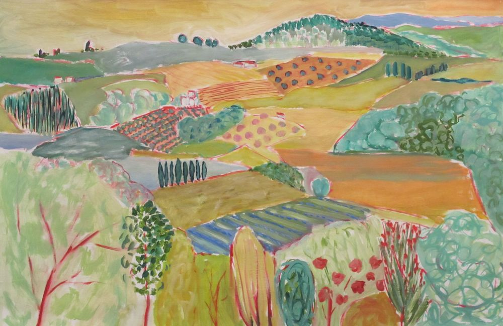 On the way to Assisi oil on paper 26 x 40 inches