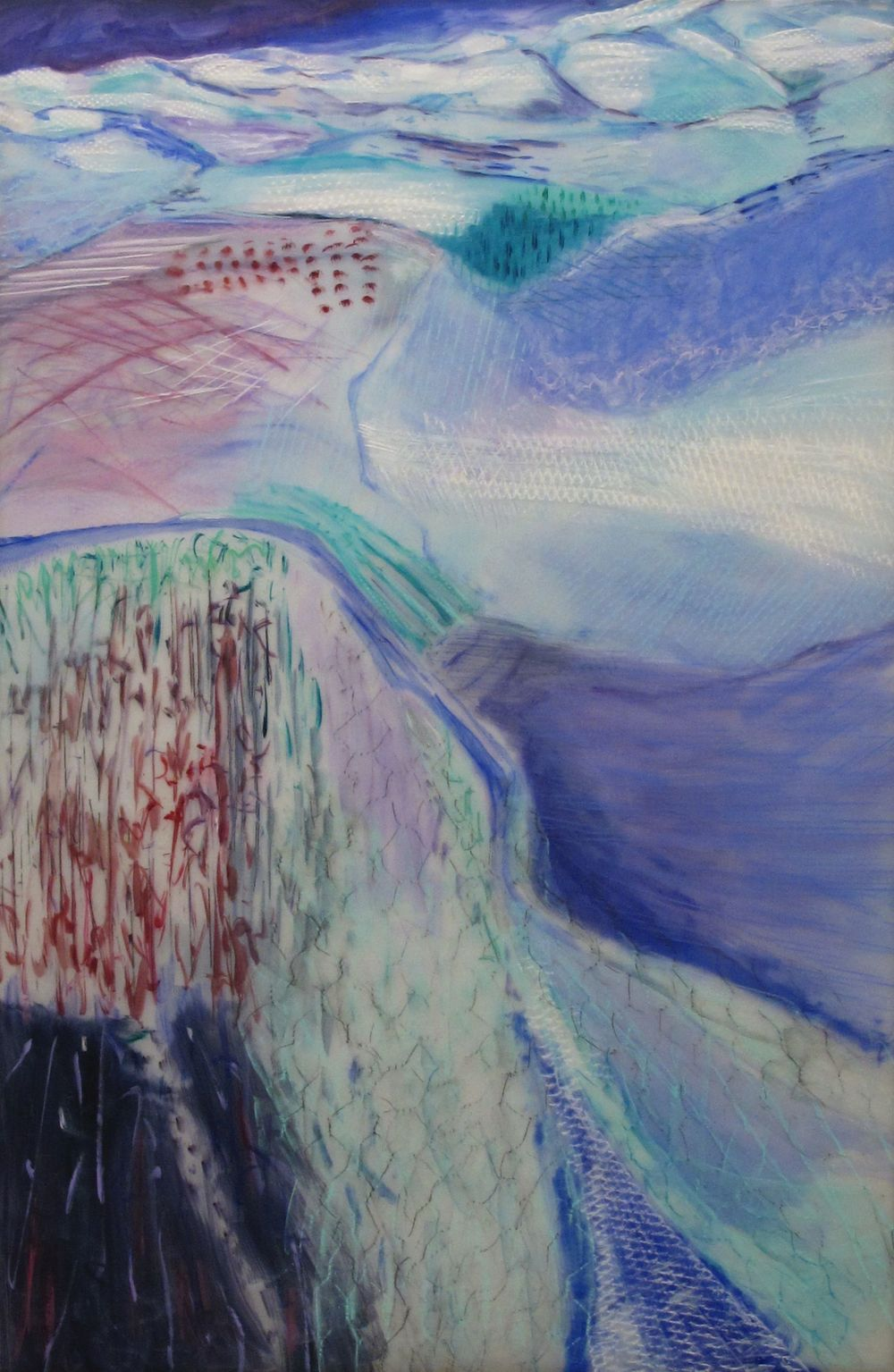 Lexan Frozen Approach to the Mountains oil graphite pastel on Lexan light box unlit 72 x 48 inches.jpg