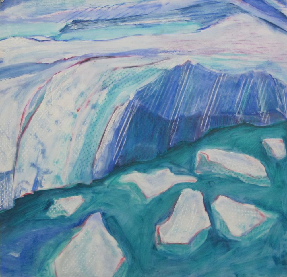 Lexan Glacier Lake and Ice Bergs Oil mixed media on Lexan 24 x 24 inches.jpg